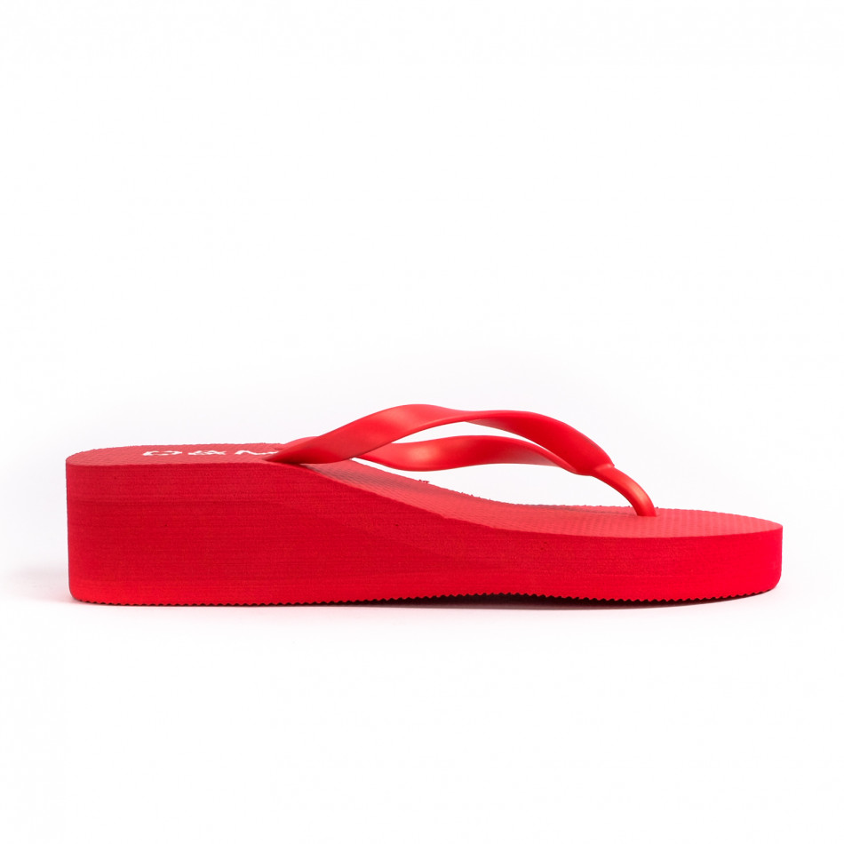 Дамски червени джапанки на платформа it260521-10