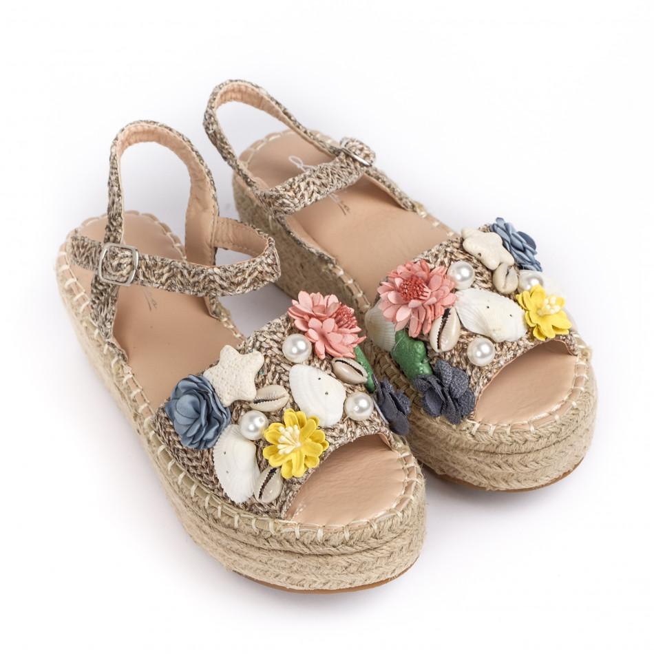 Дамски сандали в кафяво с декорация it270320-16