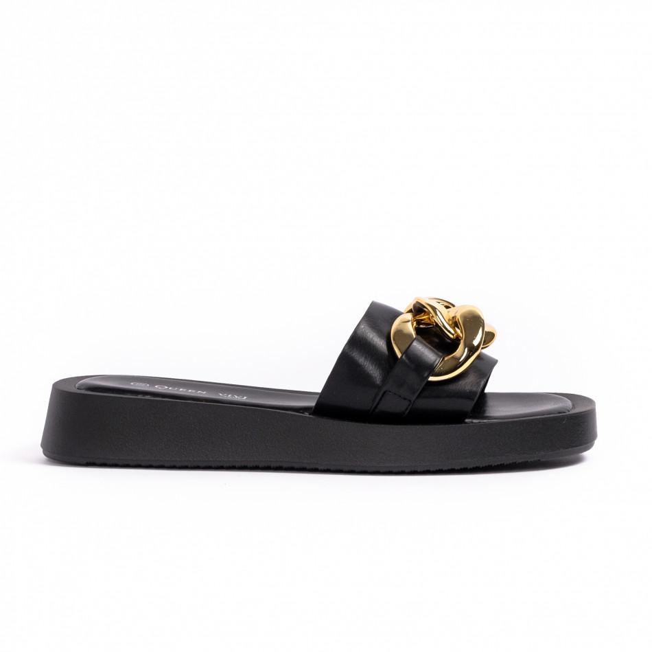 Дамски черни чехли с верига it260521-5