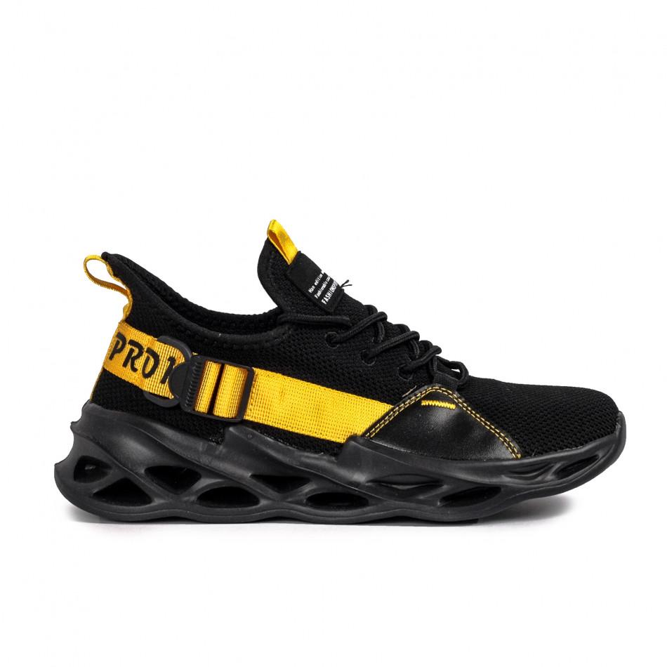 Мъжки маратонки Chevron в черно и жълто it051021-2