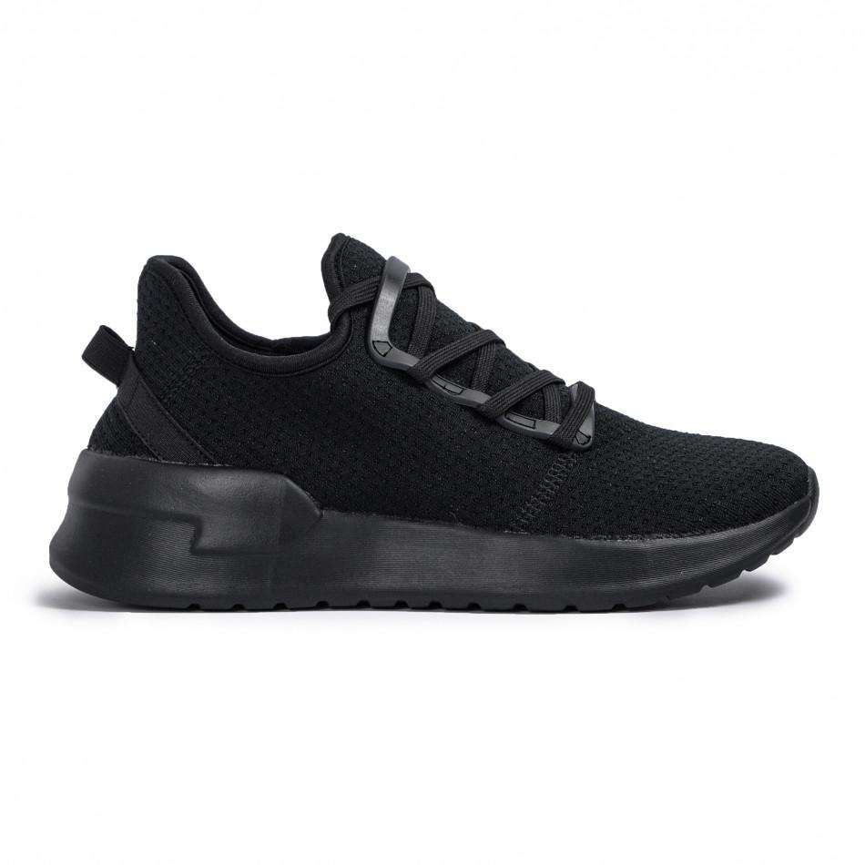 All black мъжки маратонки тип чорап Lace detail it260620-9