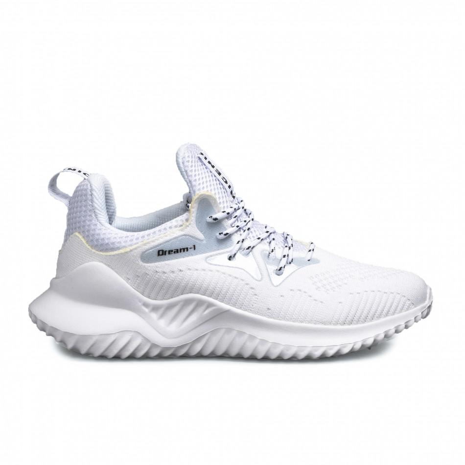 Мъжки текстилни бели маратонки с детайли gr180521-1