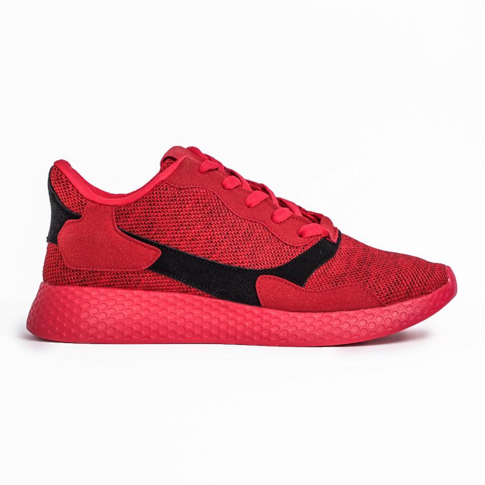 Мъжки комбинирани маратонки червен меланж it180820-2