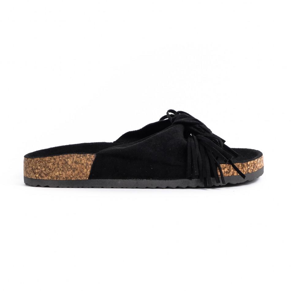 Дамски чехли с ресни в черно it030620-21