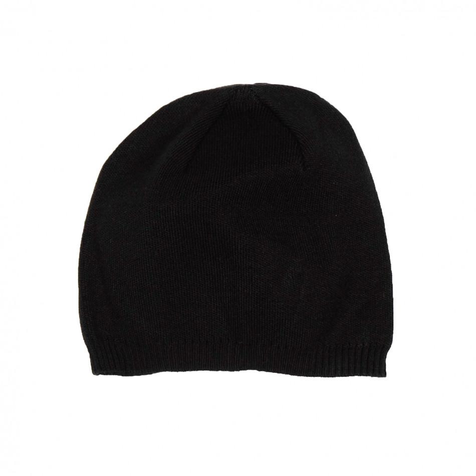 Basic мъжка плетена шапка в черно il161220-5