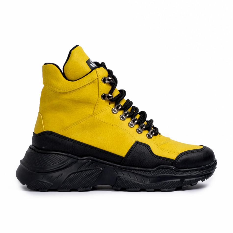 Високи маратонки в жълто трекинг дизайн tr181120-1