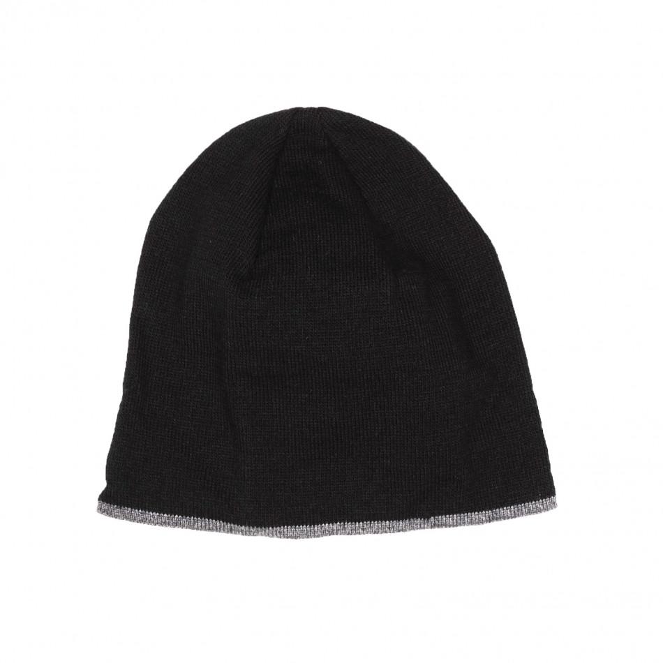 Мъжка черна плетена шапка с кант il161220-1