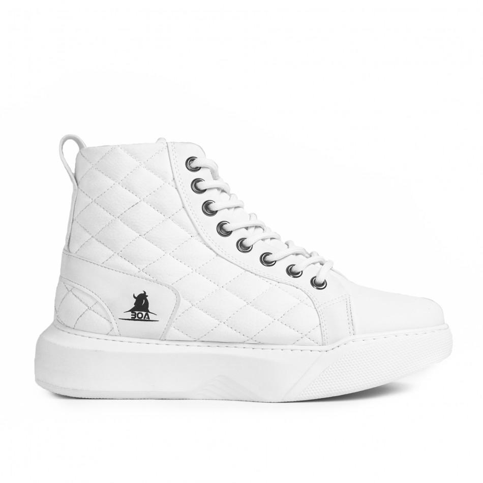 Капитонирани бели високи кецове All white tr050121-3