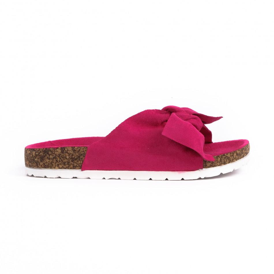 Розови дамски чехли с панделка it030620-2