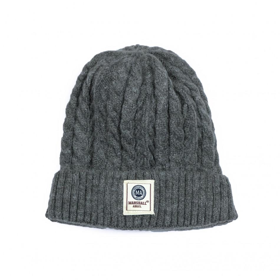 Мъжка сива шапка с плетеници it231220-34