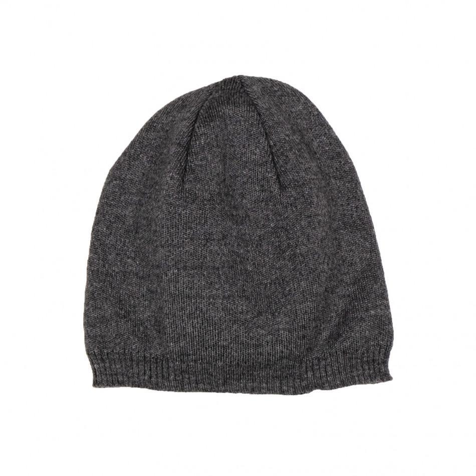 Basic мъжка плетена шапка сив меланж il161220-4