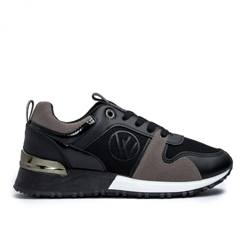 Дамски маратонки в черно и сиво it110221-1
