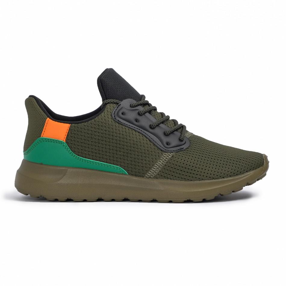 Зелени мъжки маратонки текстуриран текстил it260620-8
