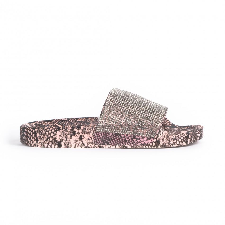 Дамски джапанки змийски мотив в розово it030620-7