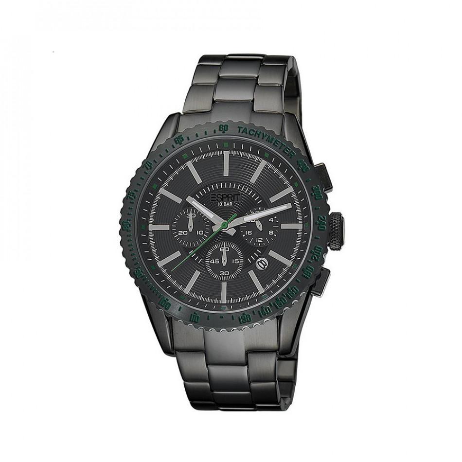 Мъжки часовник Esprit черен браслет със зелени детайли es104031007