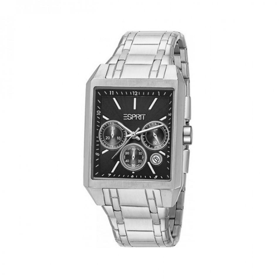 Мъжки часовник Esprit сребрист браслет с черен правоъгълен циферблат ES104061003