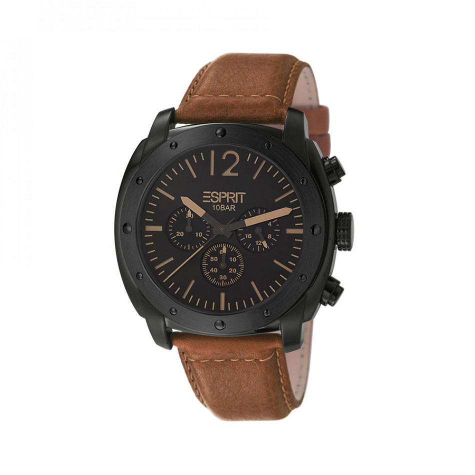 Мъжки часовник Esprit черен с кафява каишка от естествена кожа ES106391003