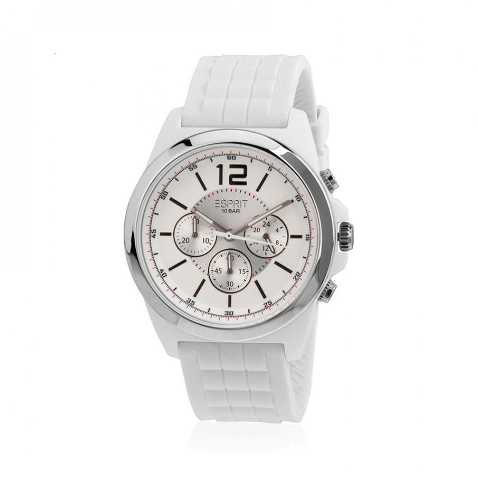 Мъжки часовник Esprit бял с бяла каучукова каишка ES106401001
