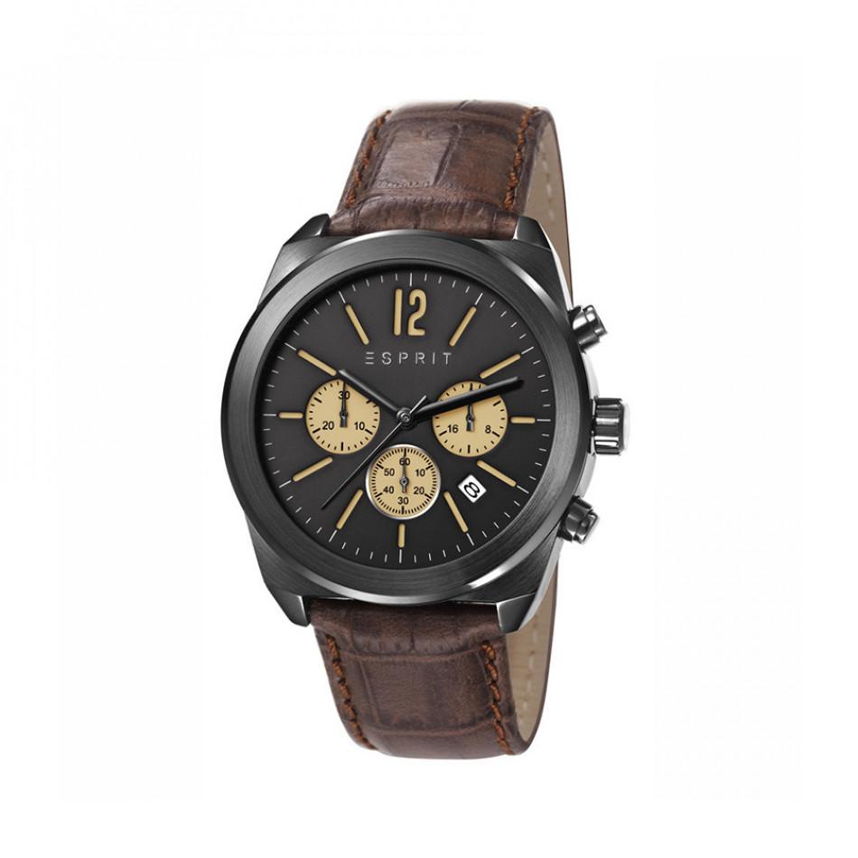 Мъжки часовник Esprit с кафява каишка от естествена кожа ES107571003