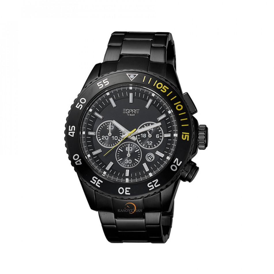 Мъжки часовник Esprit черен браслет кварцов хронограф es103621006