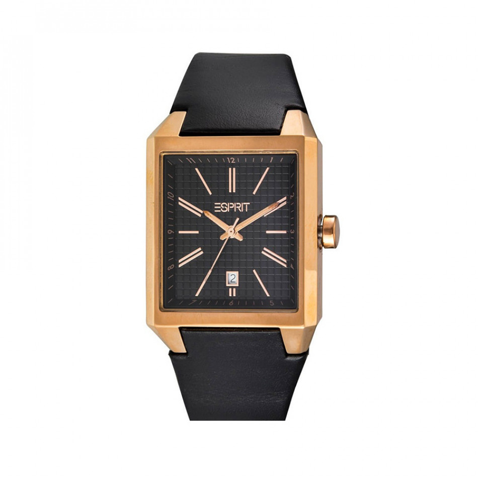 Мъжки часовник Esprit с черна каишка от естествена кожа ES104071003