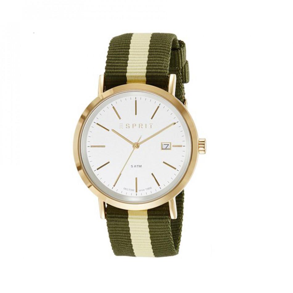 Мъжки часовник Esprit с бежово-зелена текстилна каишка ES108361002