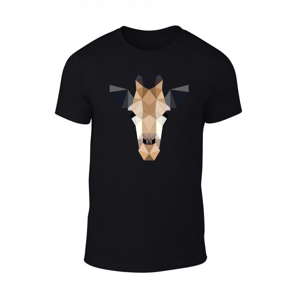 Мъжка черна тениска Giraffe TMN-M-192