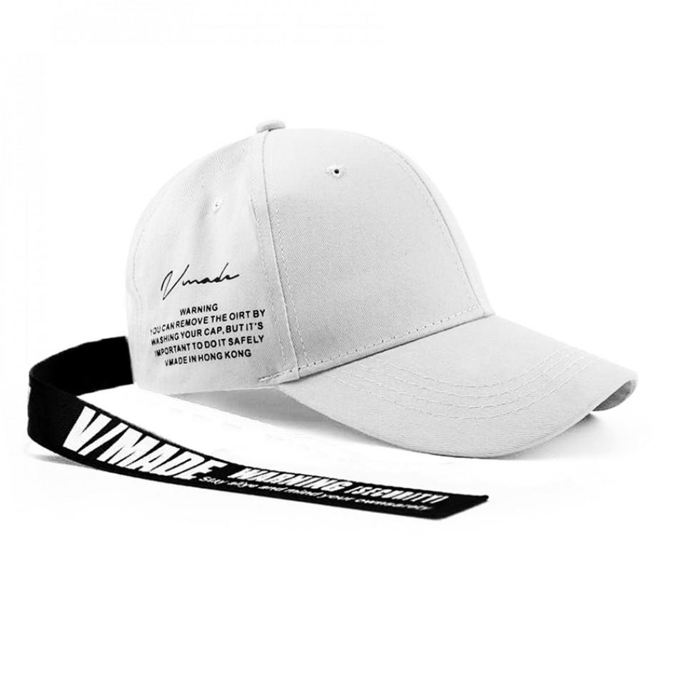 Бяла шапка с козирка и акцент gr240221-6