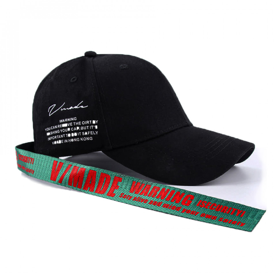 Черна шапка с козирка и акцент gr240221-7