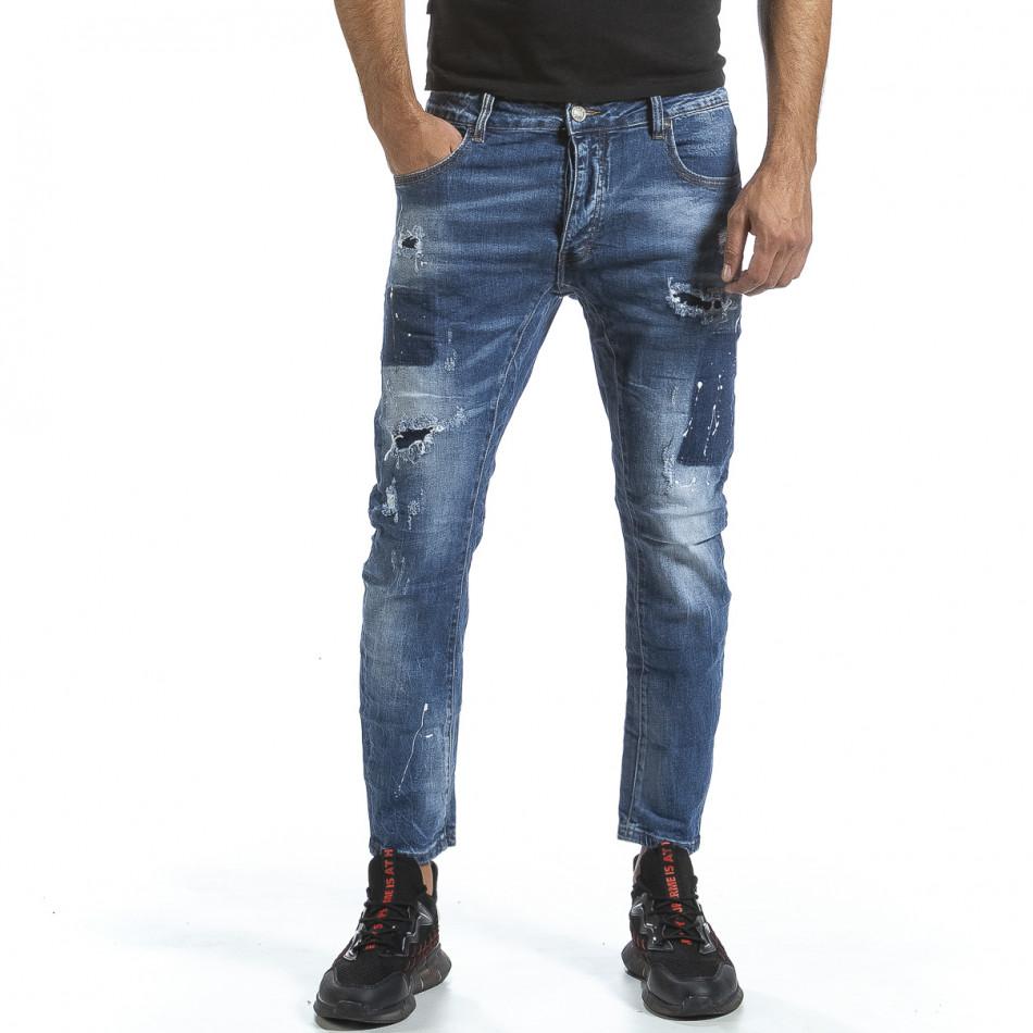 Мъжки сини дънки с износен ефект gr070921-18