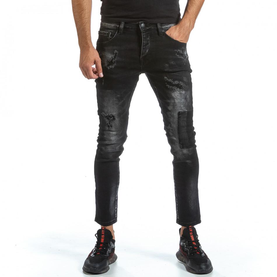 Slim fit мъжки черни дънки с износен ефект gr070921-17