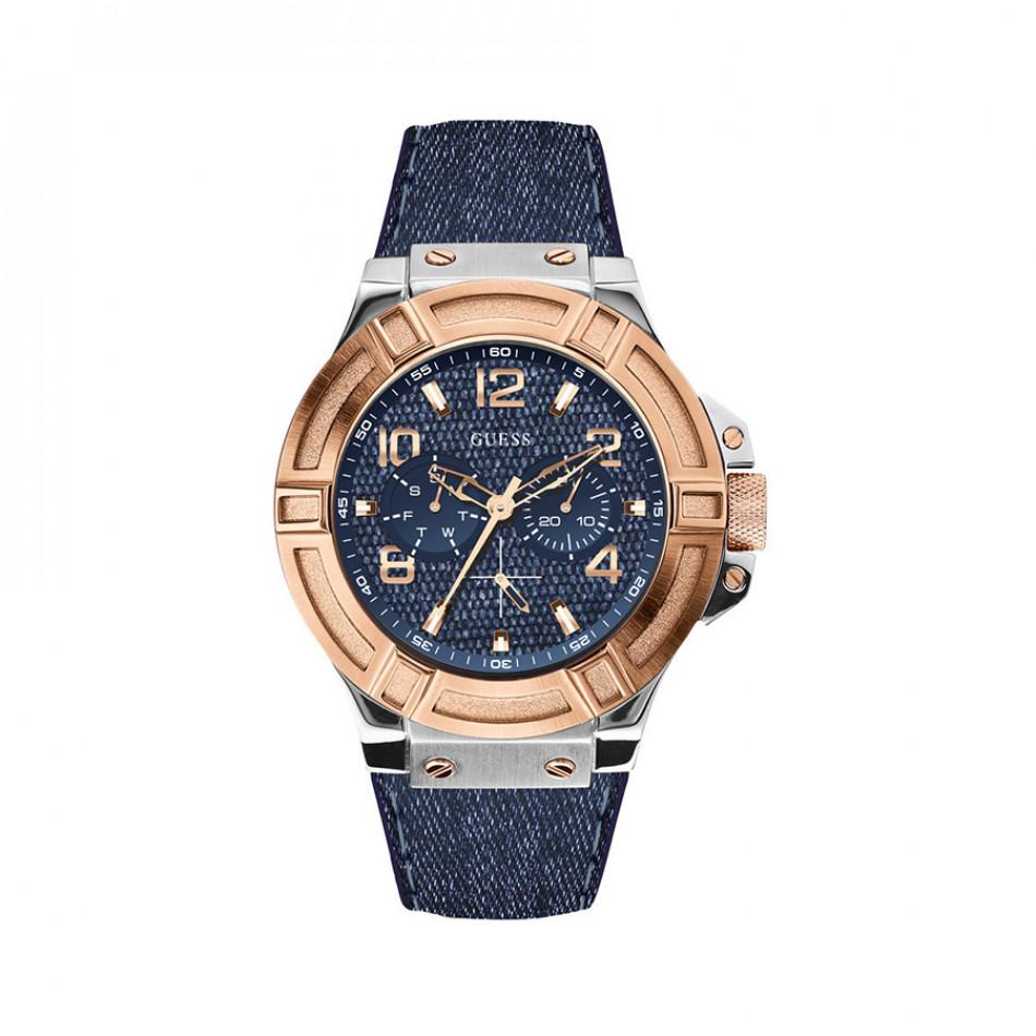 Мъжки часовник Guess дънков със златист ринг на циферблата W0040G6