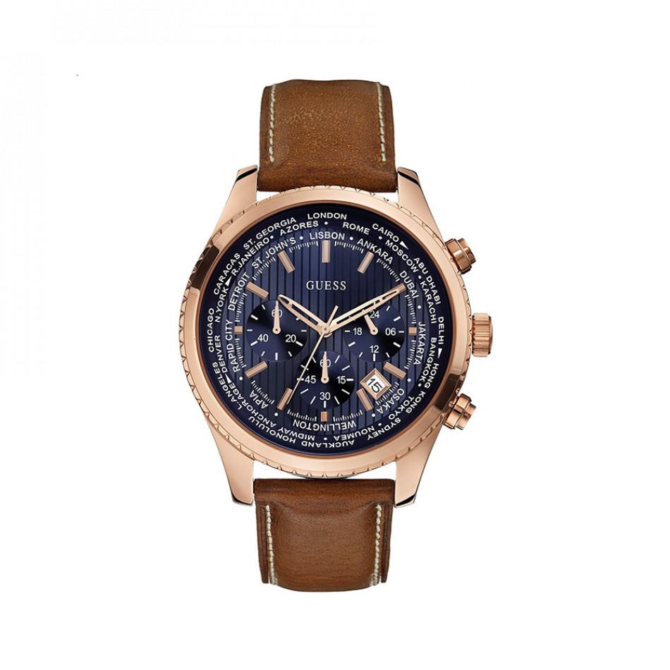 Мъжки часовник Guess с розова позлата и бежова каишка W0500G1