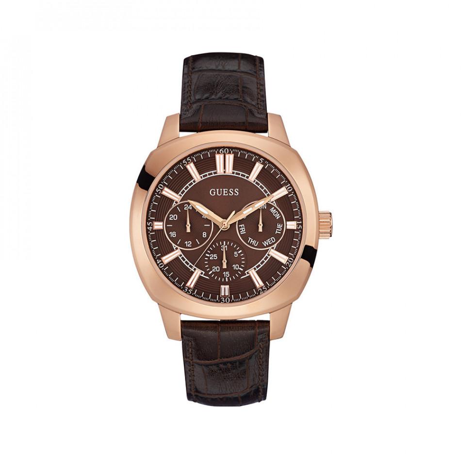 Мъжки часовник Guess с розова позлата на касата и кафяв циферблат W0660G1