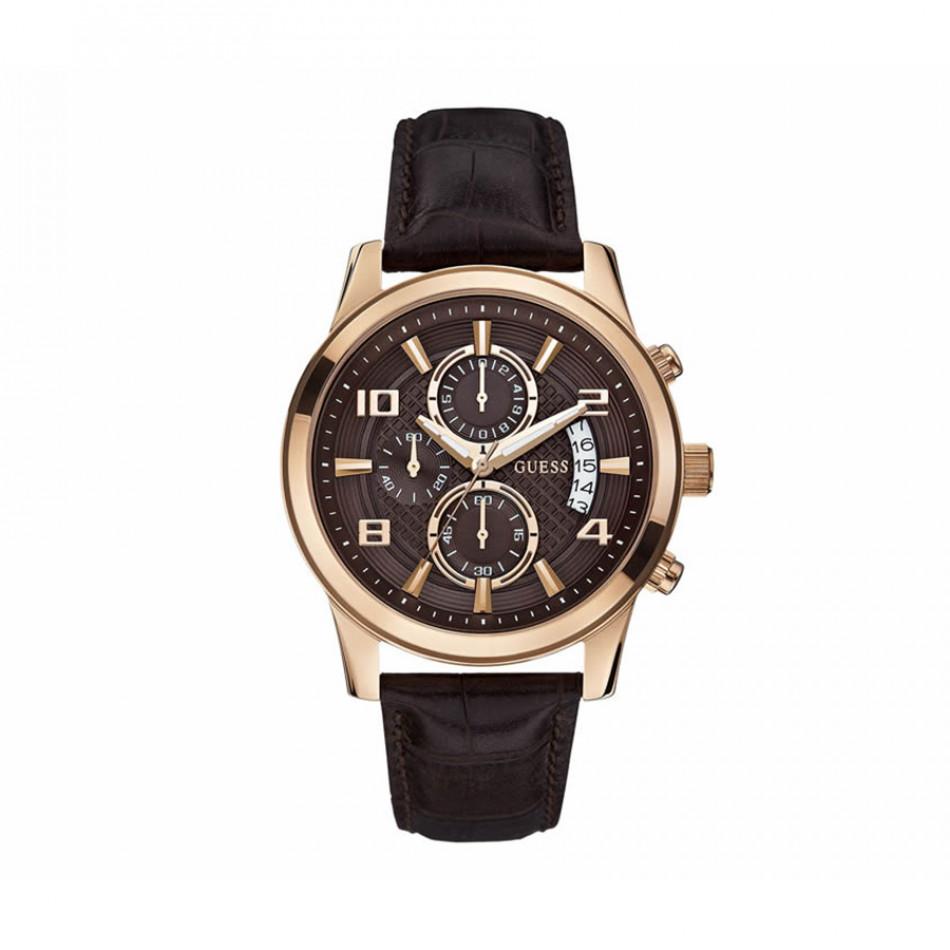 Мъжки часовник Guess с кафява каишка от естествена кожа W0076G4