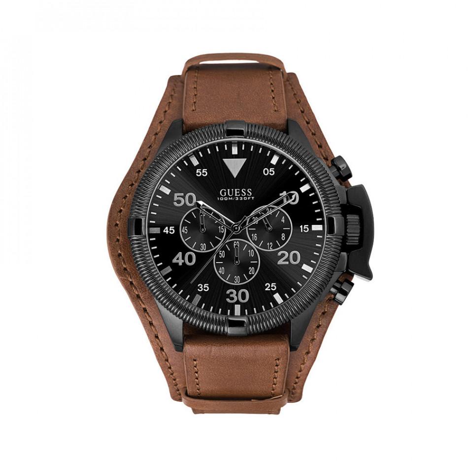 Мъжки часовник Guess със светло кафява каишка от естествена кожа W0480G2