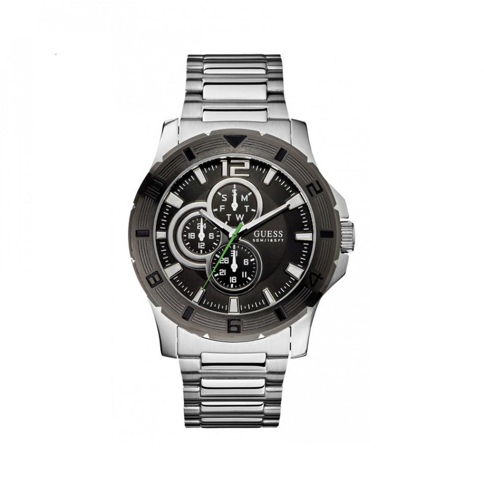 Мъжки часовник Guess сребрист браслет с черна каса W11617G1