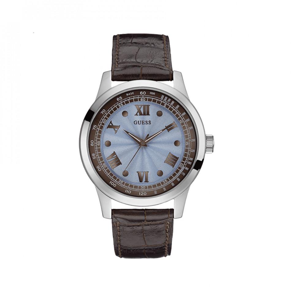 Мъжки часовник Guess със син циферблат и кафява каишка W0662G2