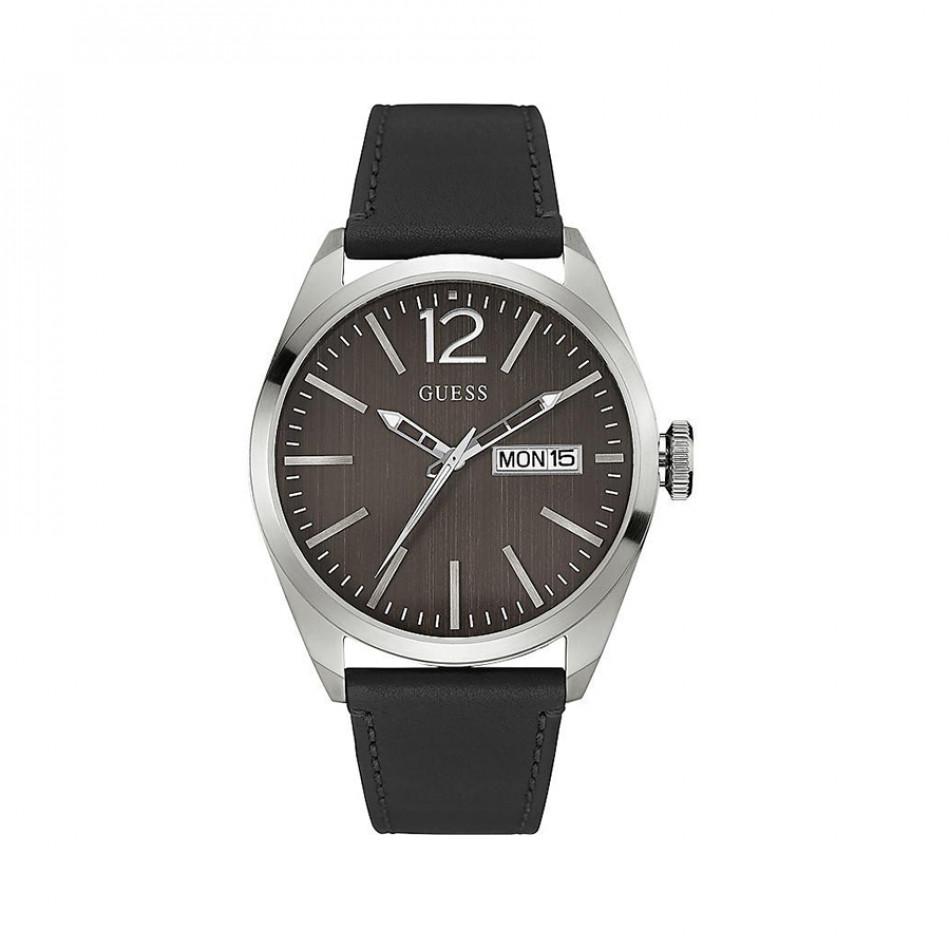 Мъжки часовник Guess с кафяв циферблат и черна каишка W0658G2