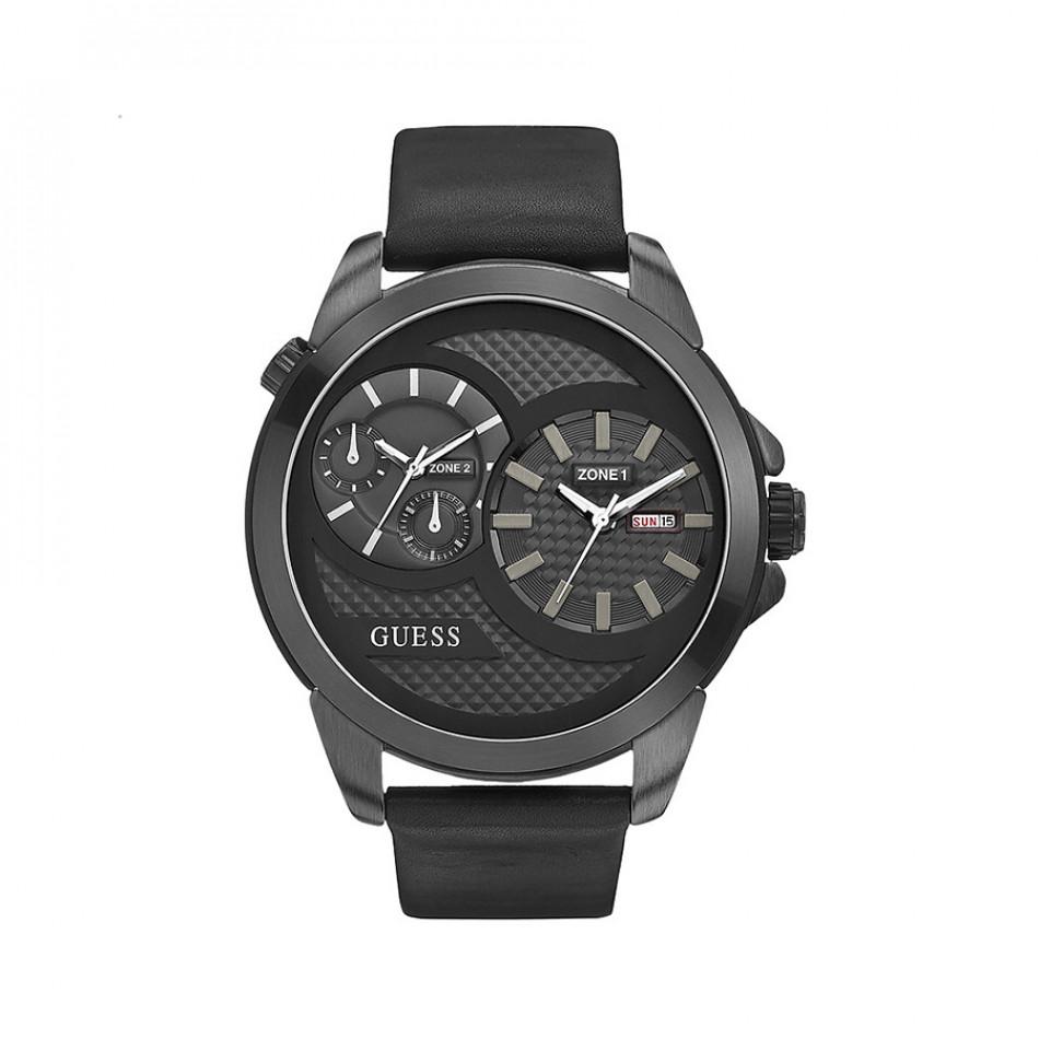 Мъжки часовник Guess черен с две времеви зони W0184G1