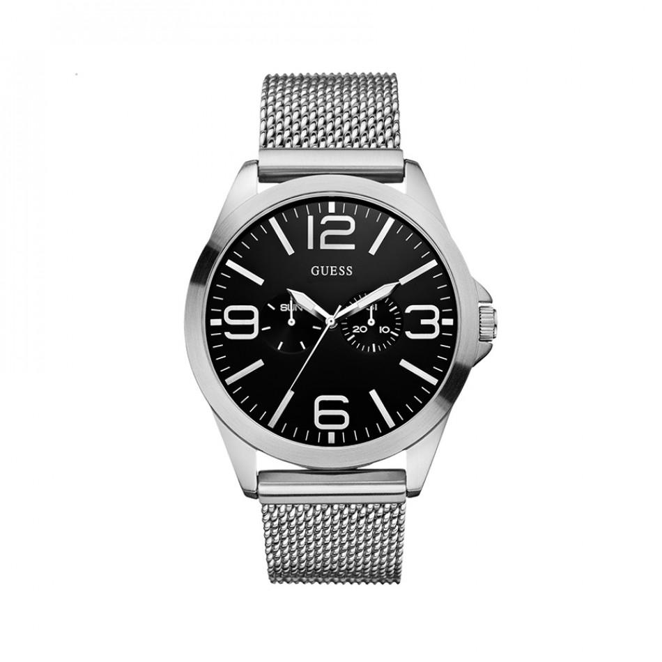 Мъжки часовник Guess сребрист с черен циферблат W0180G1
