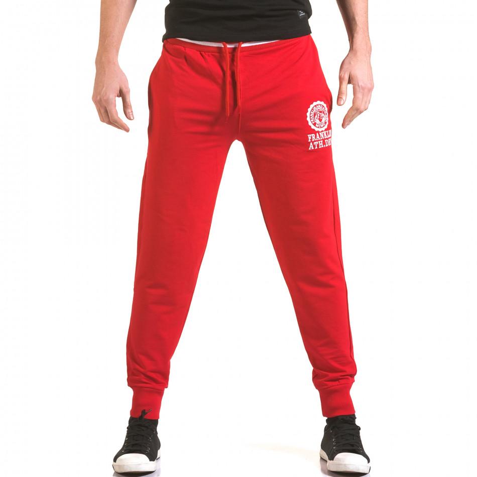 Мъжко червено долнище с лого на единия крачол il170216-132