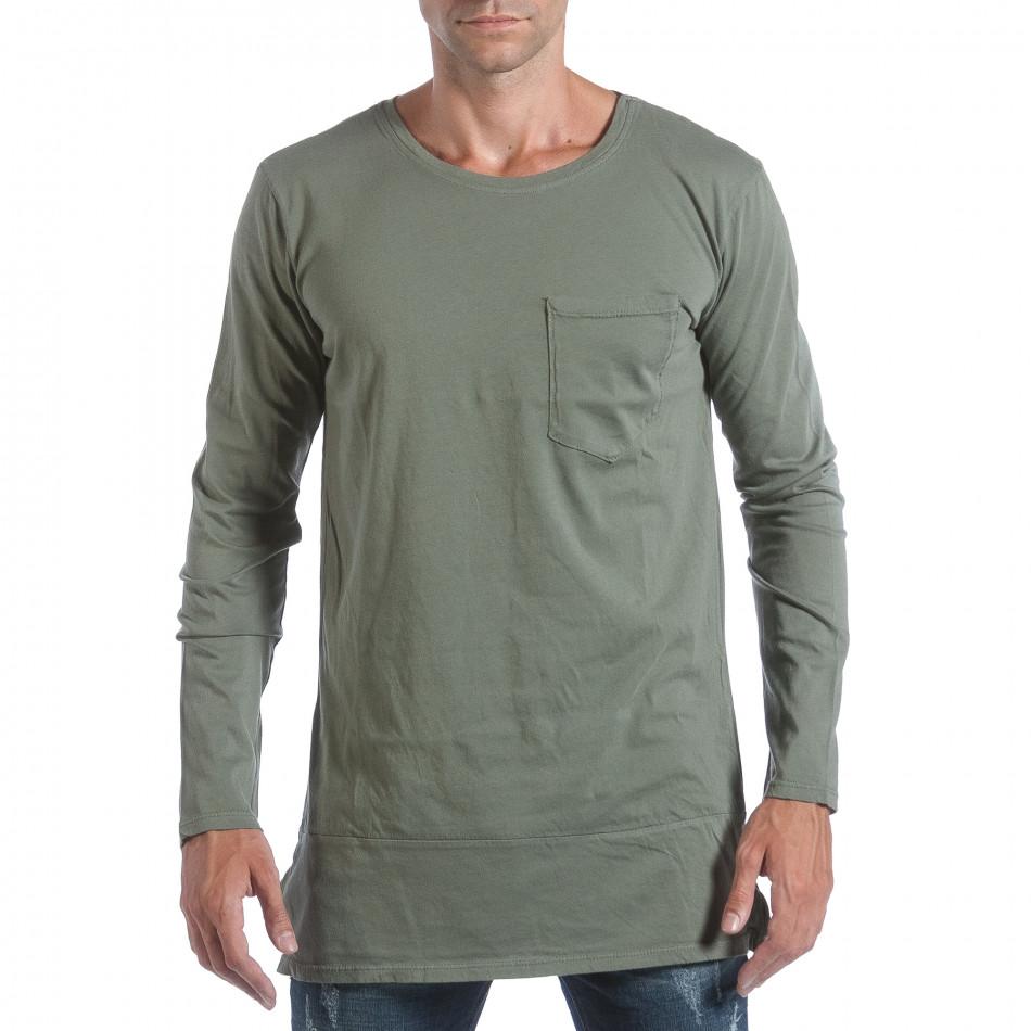 Мъжка зелена блуза с ципове отстрани it160817-84