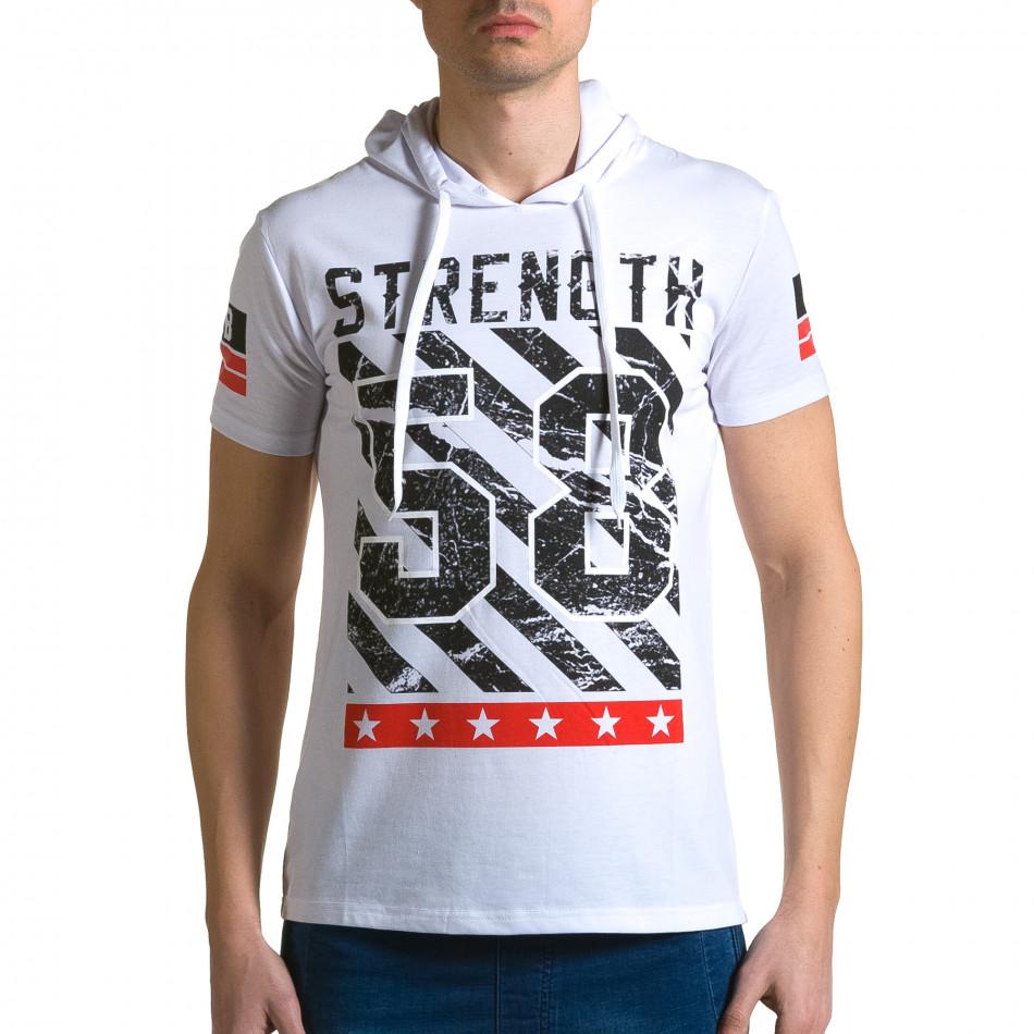 Мъжка бяла тениска с качулка и номер 58 ca190116-42