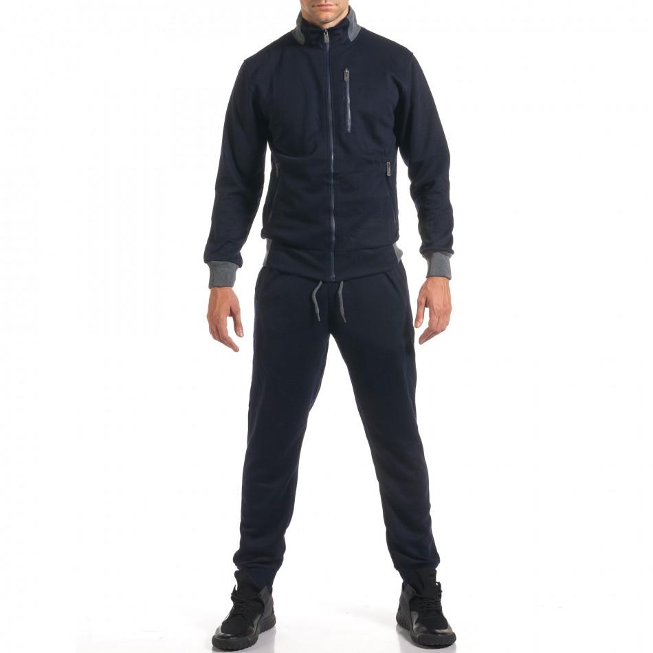 Мъжки син спортен комплект с декоративен цип it160916-78