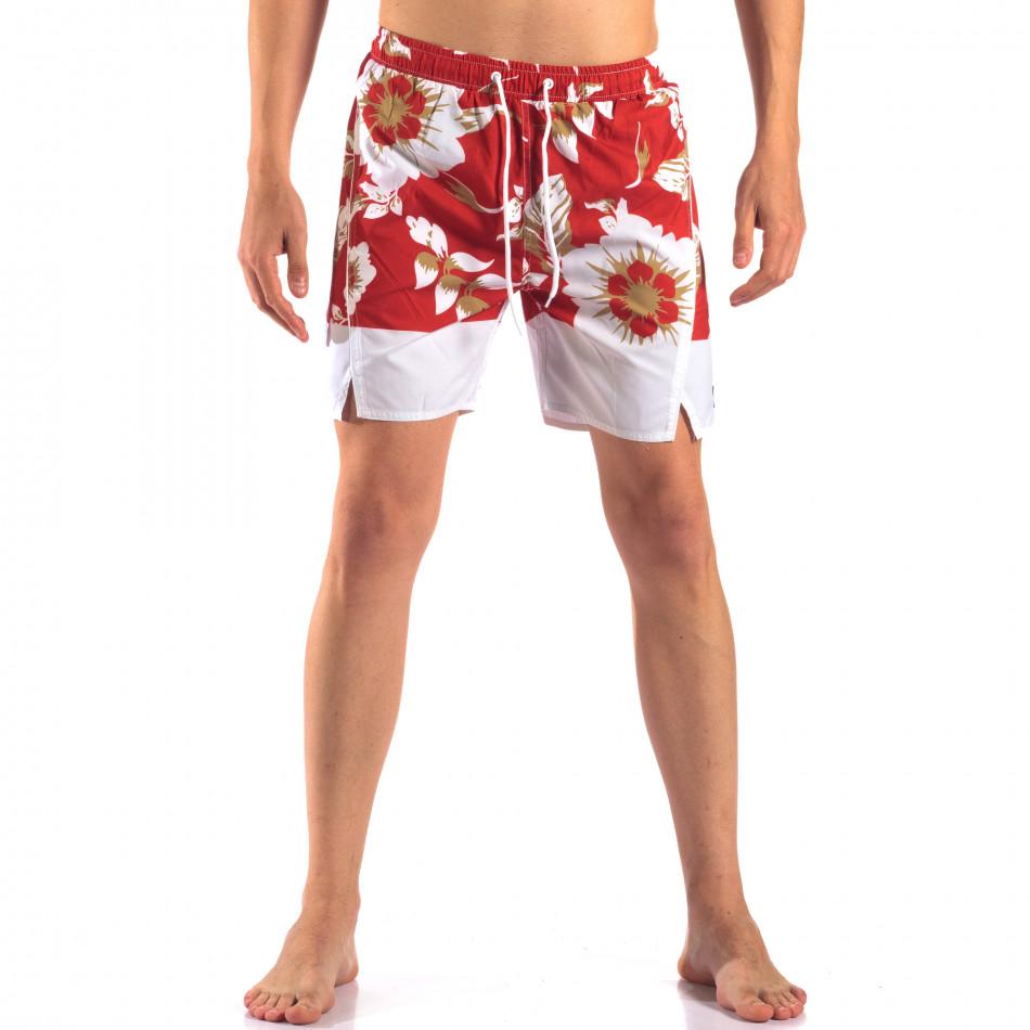 Мъжки червени бански с бели цветя it150616-21