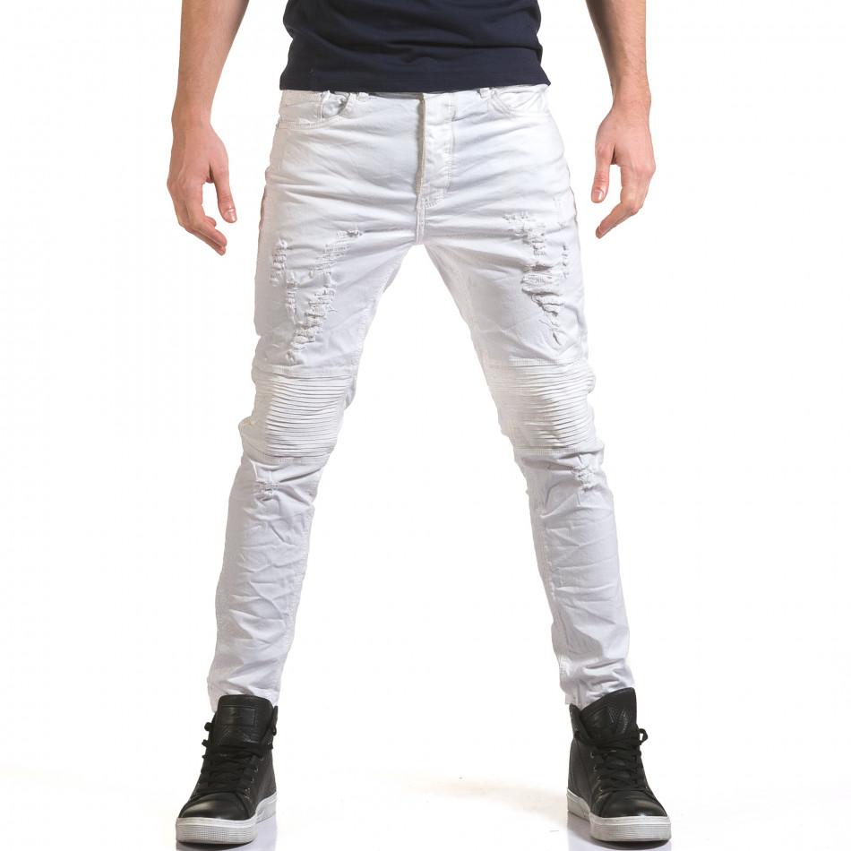 Мъжки бели дънки с релефни шевове it090216-16
