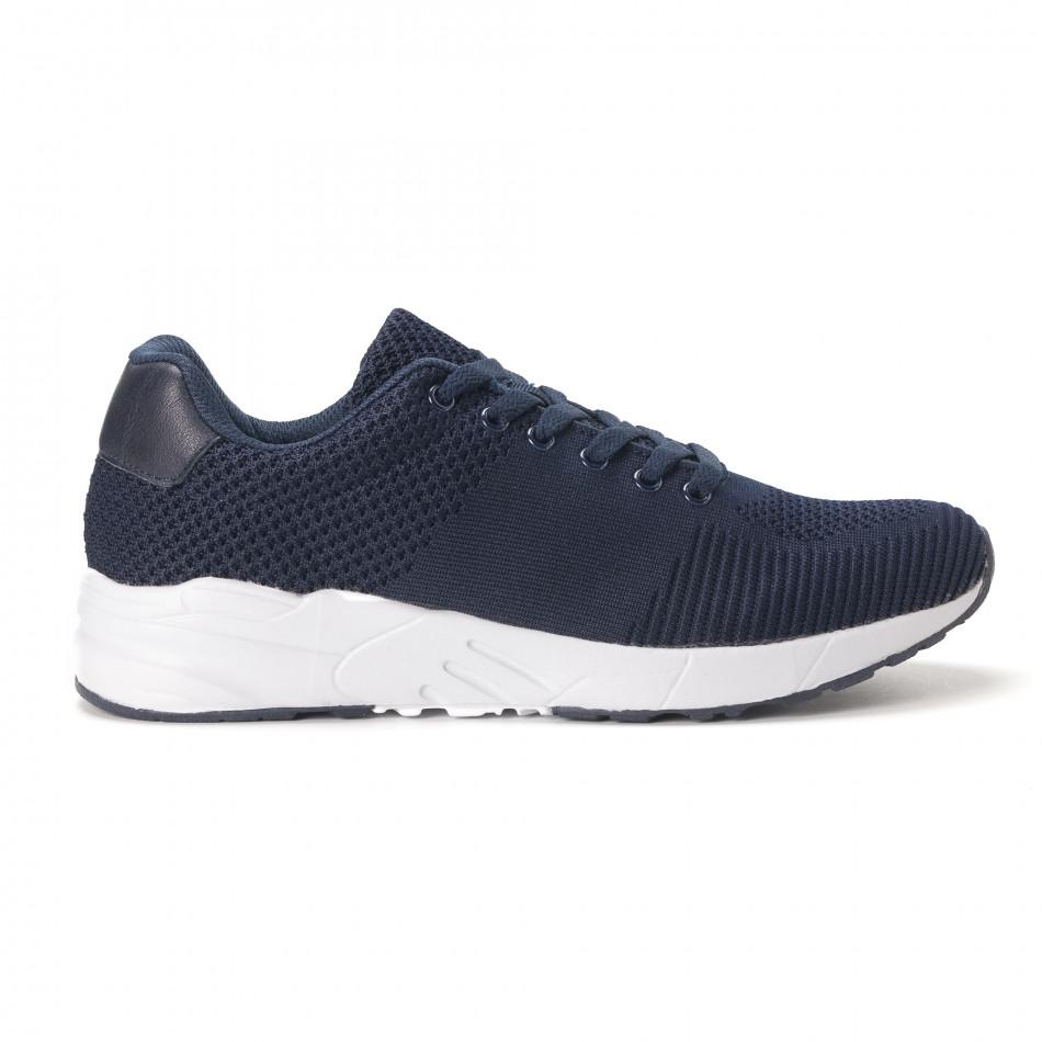 Леки мъжки маратонки от тъмно син релефен текстил it020618-22