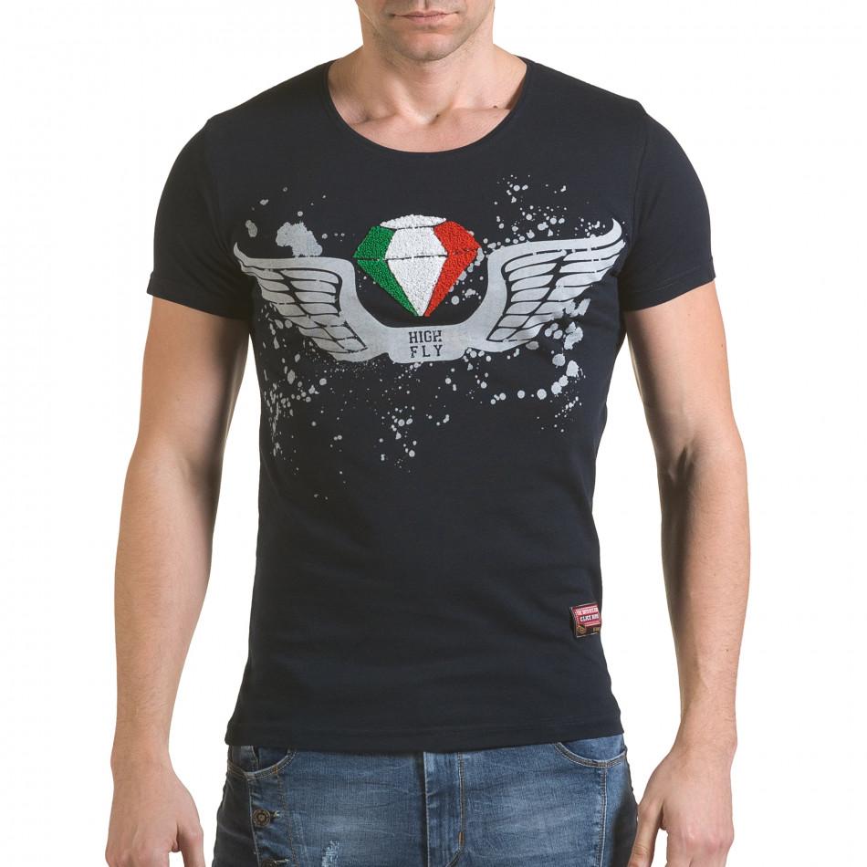 Мъжка синя тениска с принт крила и Италианското знаме il170216-77