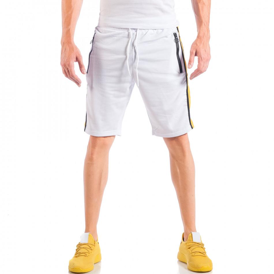 Бели мъжки шорти с контрастни ивици и ципове на джобовете it050618-29